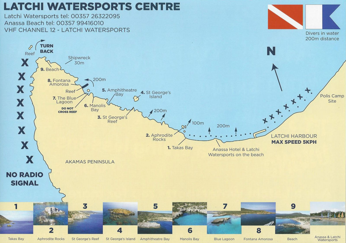 Map of the Akamas Coastline by Latchi Watersports Centre