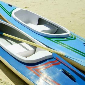 Canoe at Latchi Watersports Centre on the Beach in Cyprus