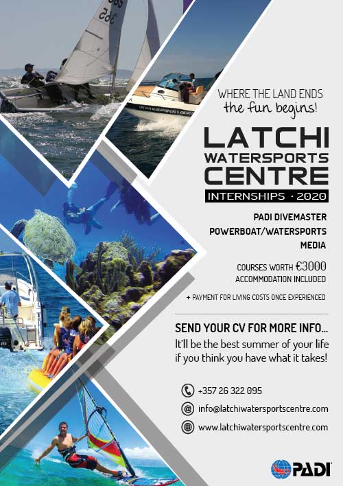 Latchi Watersports Centre Summer Internship for Divemaster, Powerboat & Watersports and Media