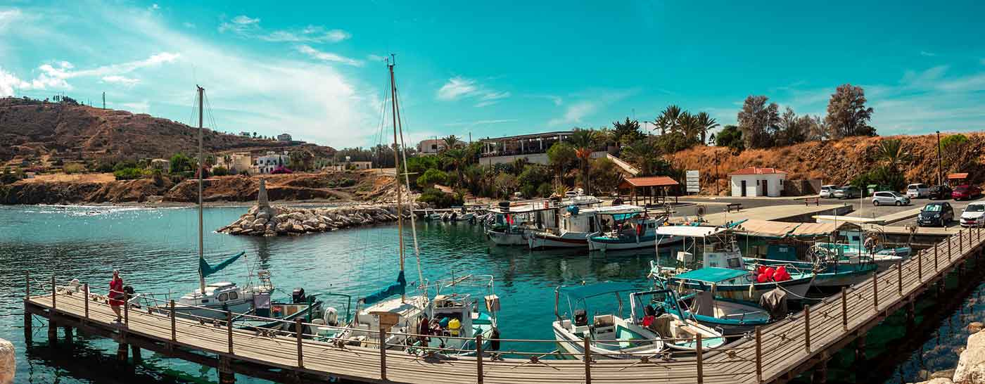 Pomos Fishing Harbour on the northwest coast of Chrsochous Bay in Cyprus