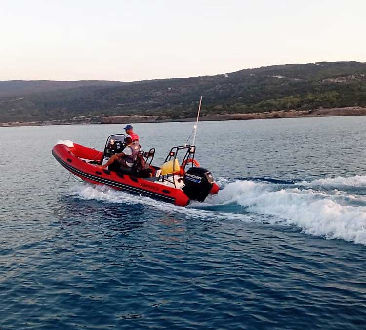 Safety Boat patrolling the Blue Lagoon in Cyprus