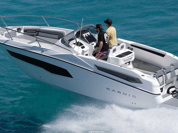 Karnic SL701 Boat Hire from Latchi Watersports Centre is our biggest, sleekest, luxury self-drive speedboat at 7.9m long